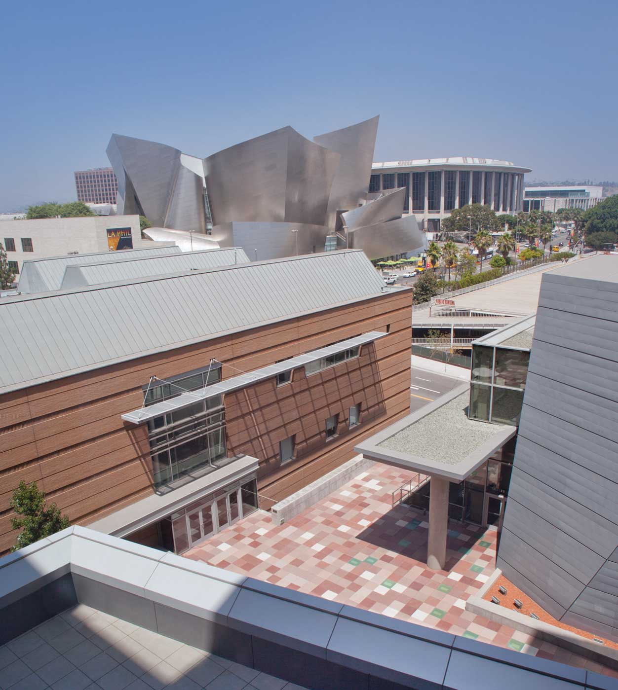 Colburn campus from above with view of Walt Disney Concert Hall