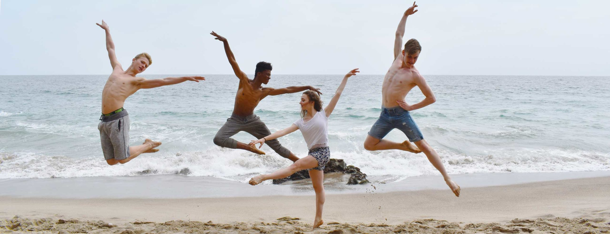 Dance Academy students posing on the beach