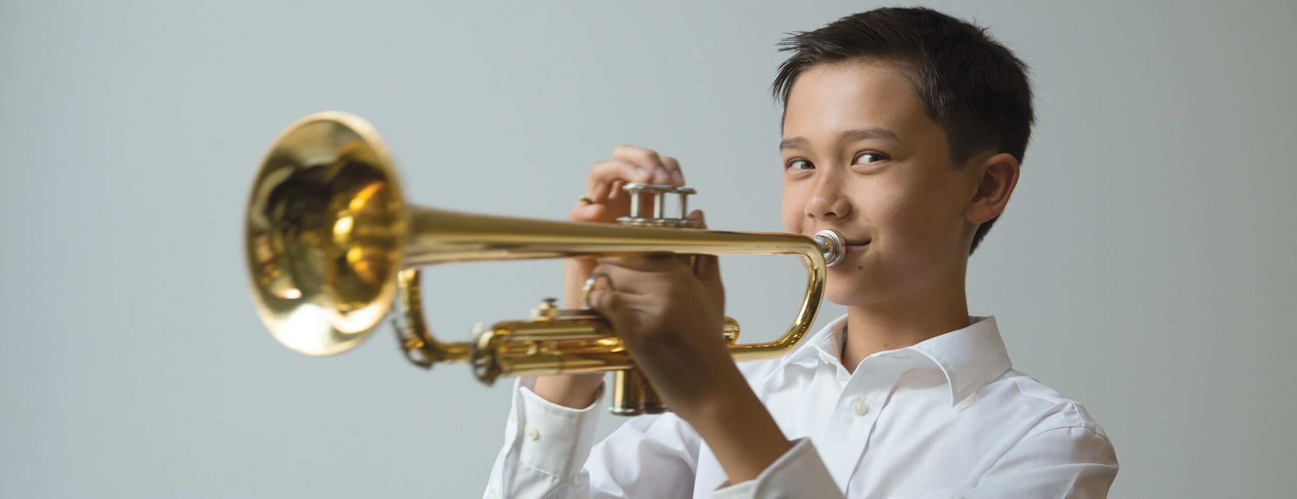 Trumpet student playing