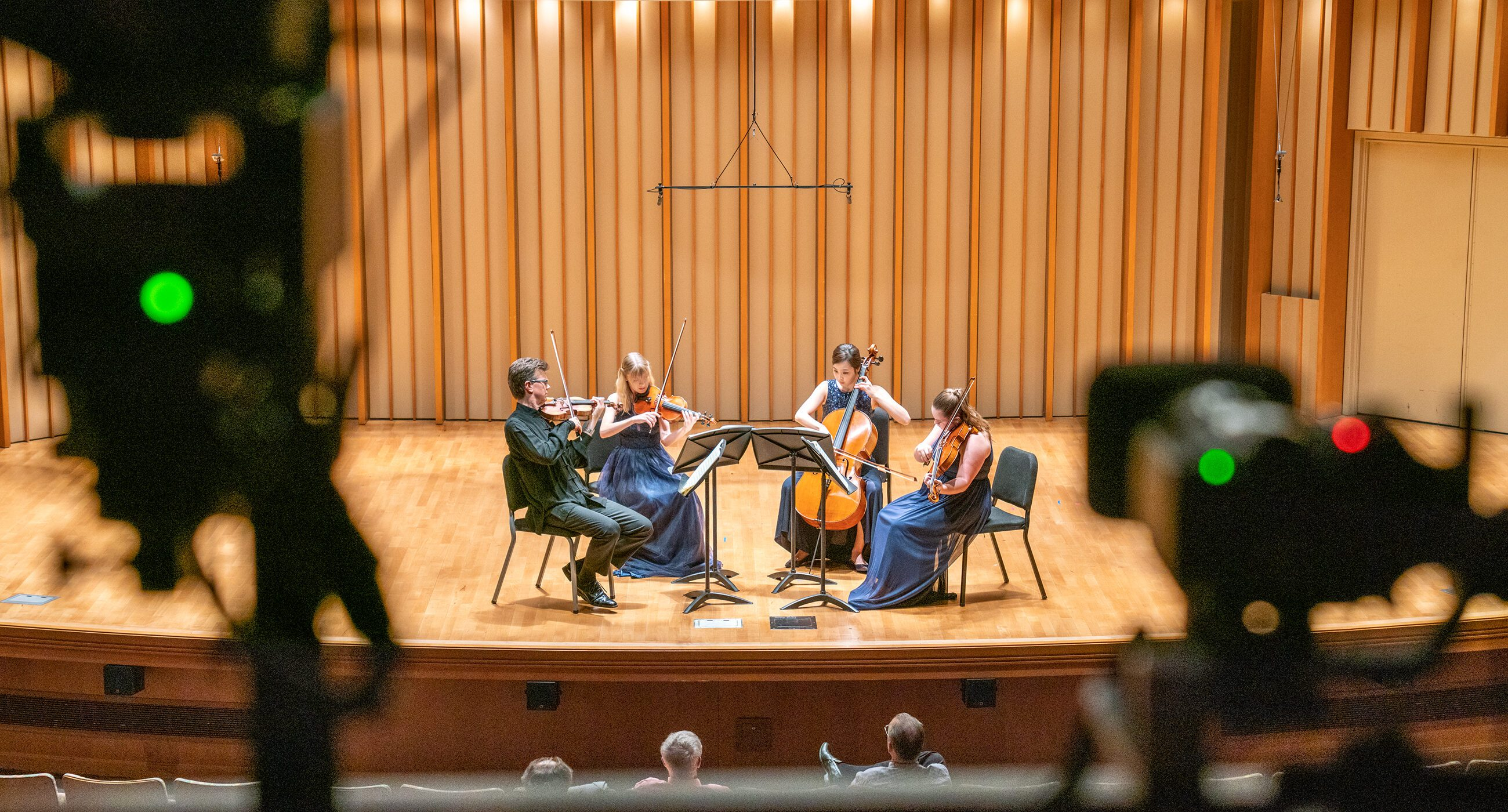 Cameras filming a string quartet on the Zipper Hall stage