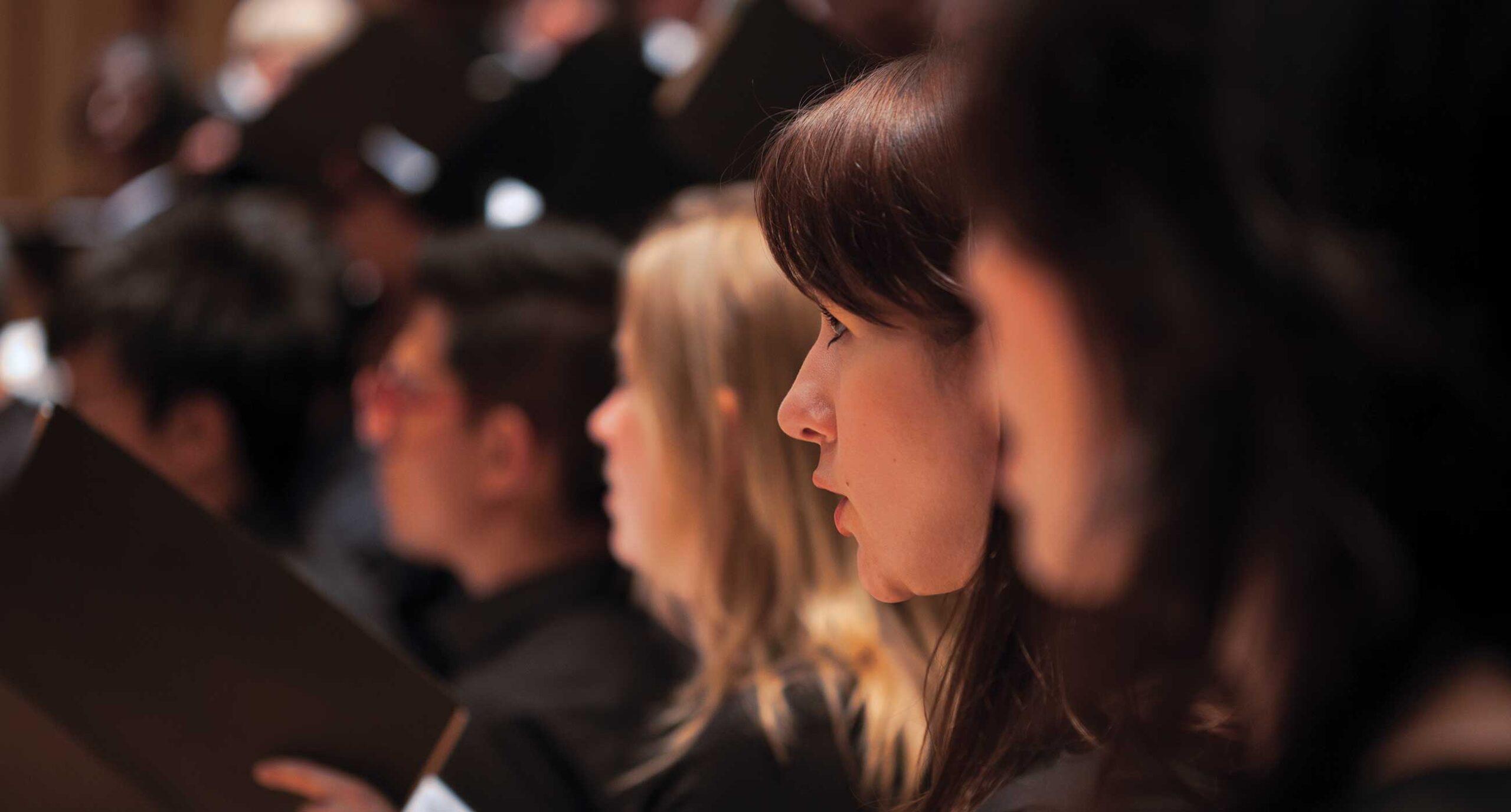 Adult choir members lined up