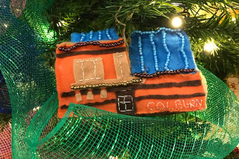 Holiday ornament made by Community School parent Sandy Nguyen-Huynh
