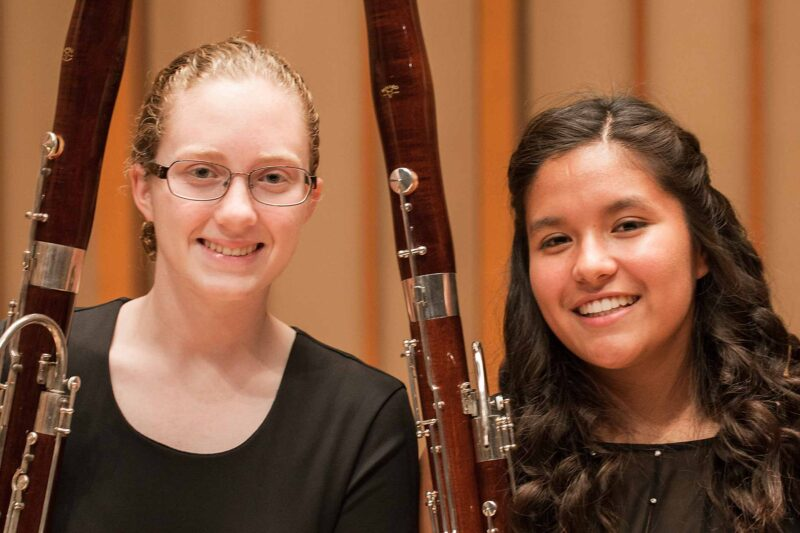 Tow bassoon students on the Zipper Hall stage