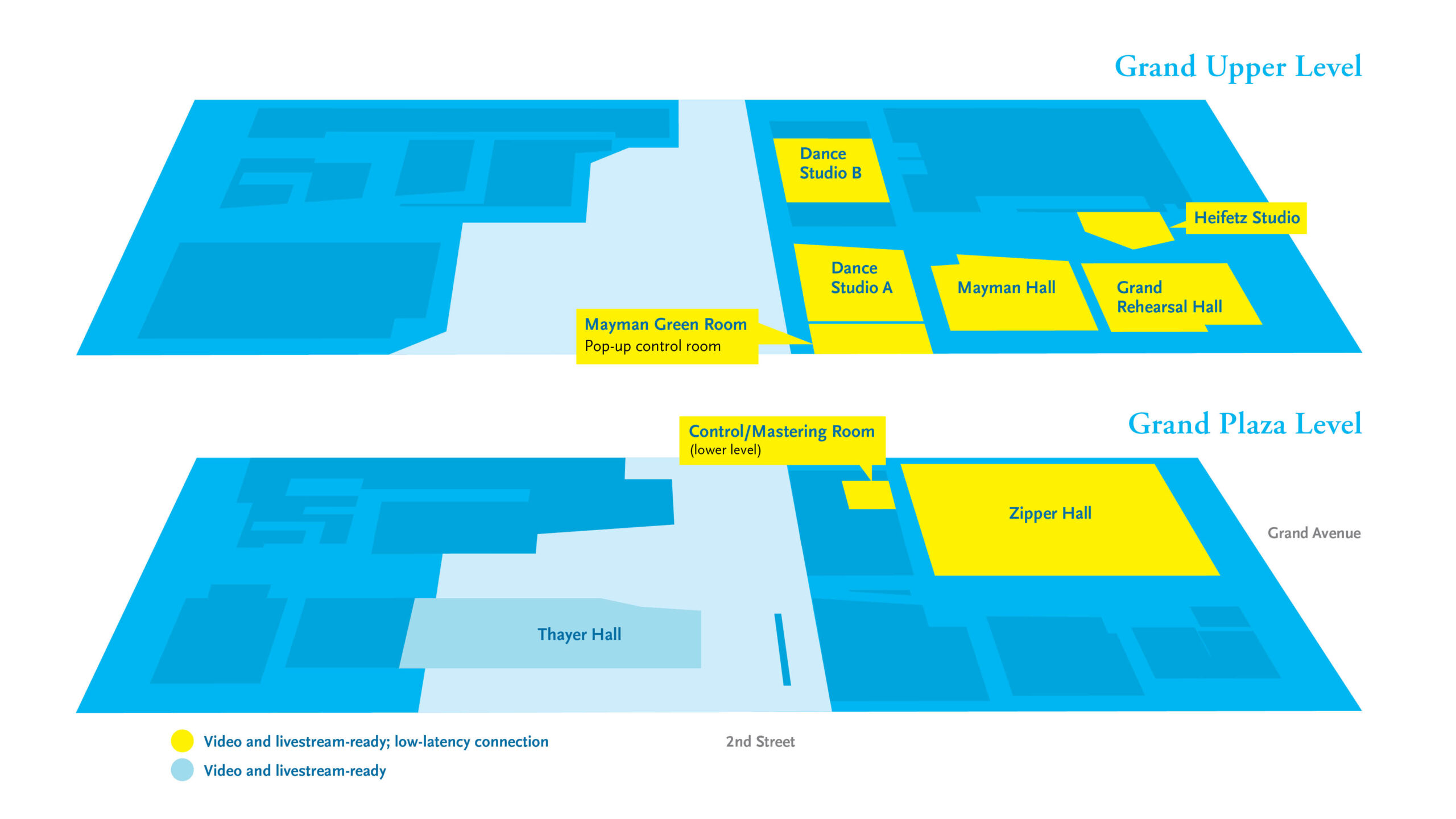 Campus map noting locations with livestream capability