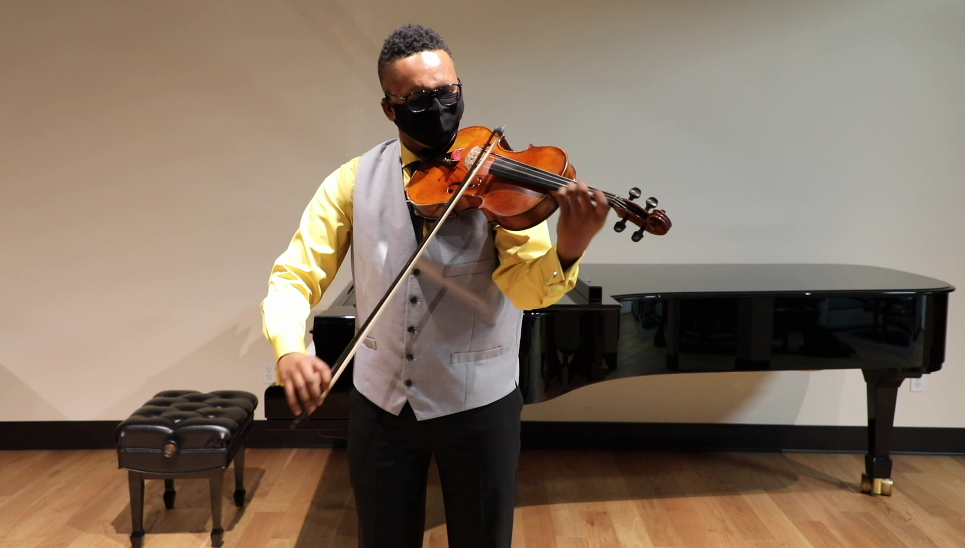 Solomon Leonard playing viola