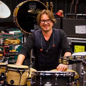 Pete Korpela sitting at a drumset