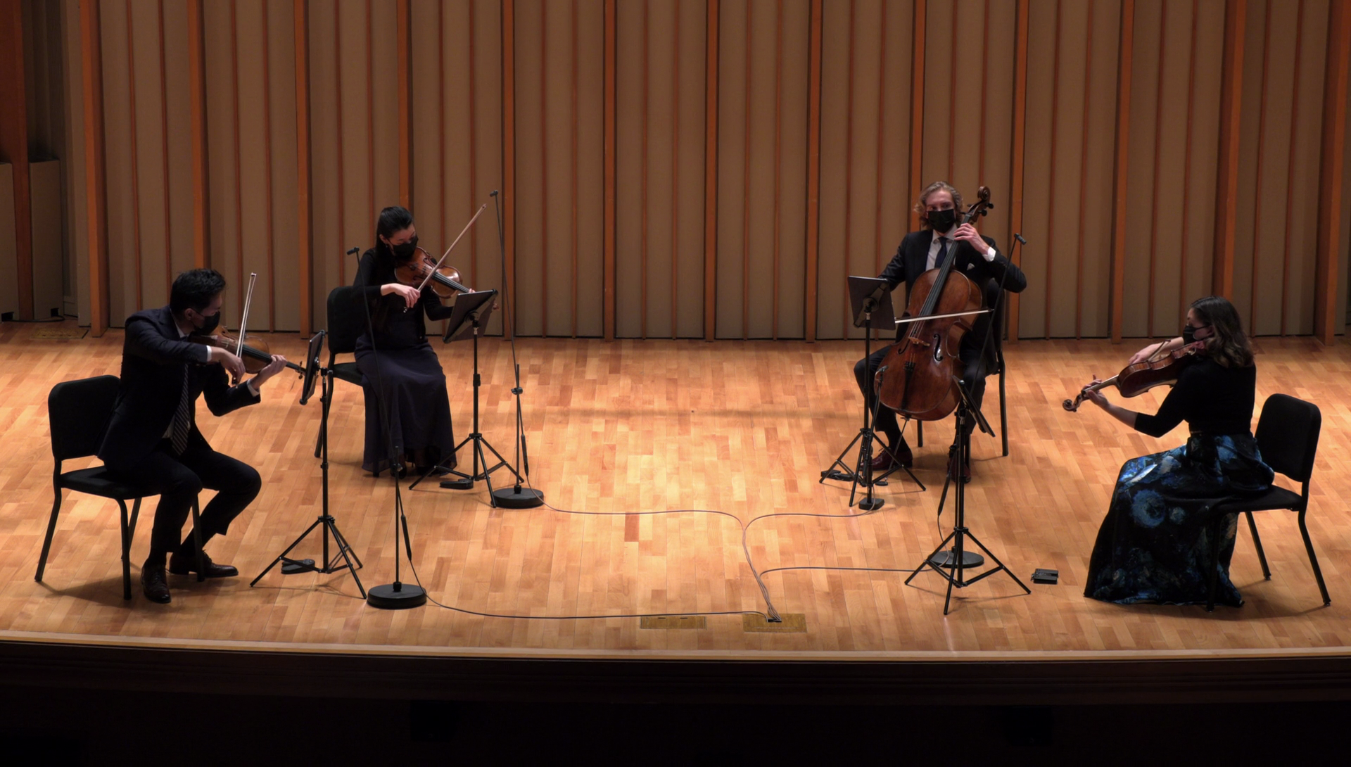 Viano String Quartet performs on Zipper Hall stage