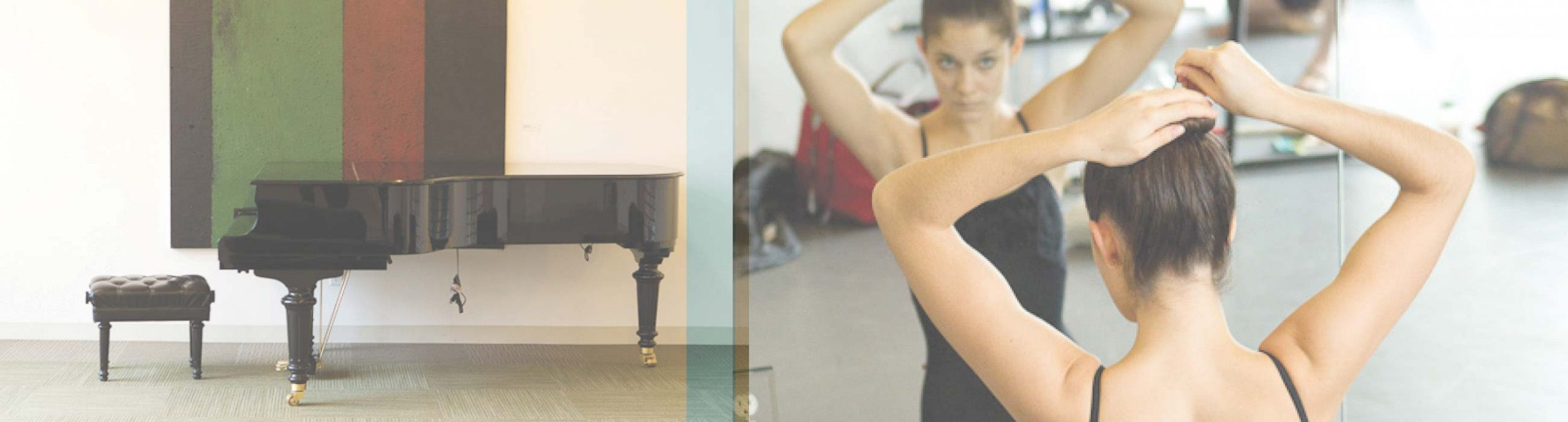 Photo on left of piano against wall, photo on right of ballet dancer putting long brown hair in a bun looking in the studio mirror