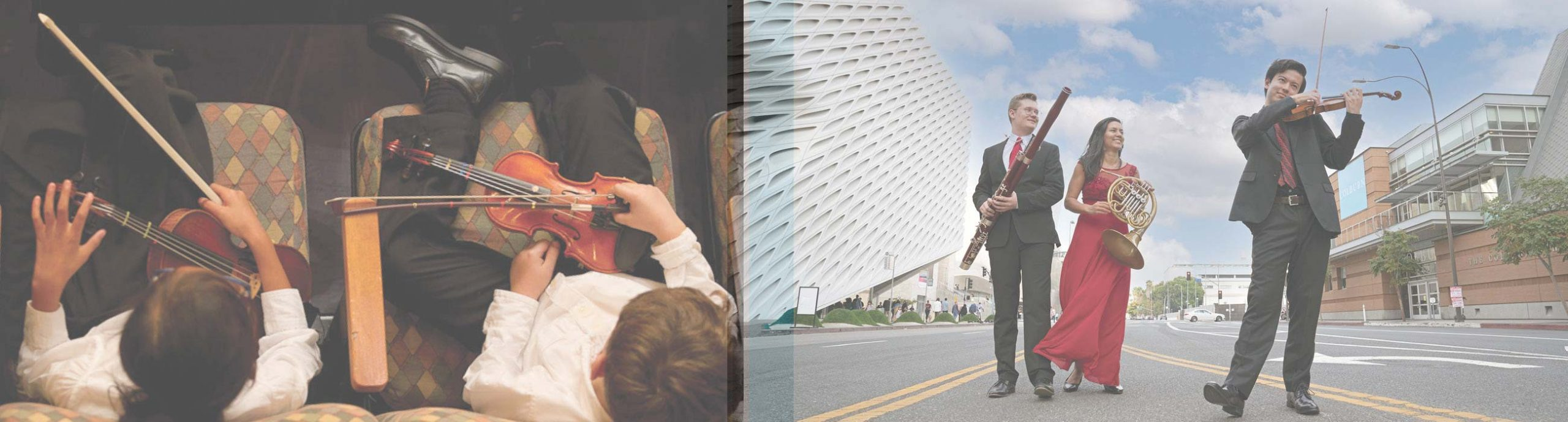 Photo on left of two students sitting in seats holding violins in their laps from above, photo on left of bassoonist, french horn player, and violinist in formal dress standing in street outside Colburn campus