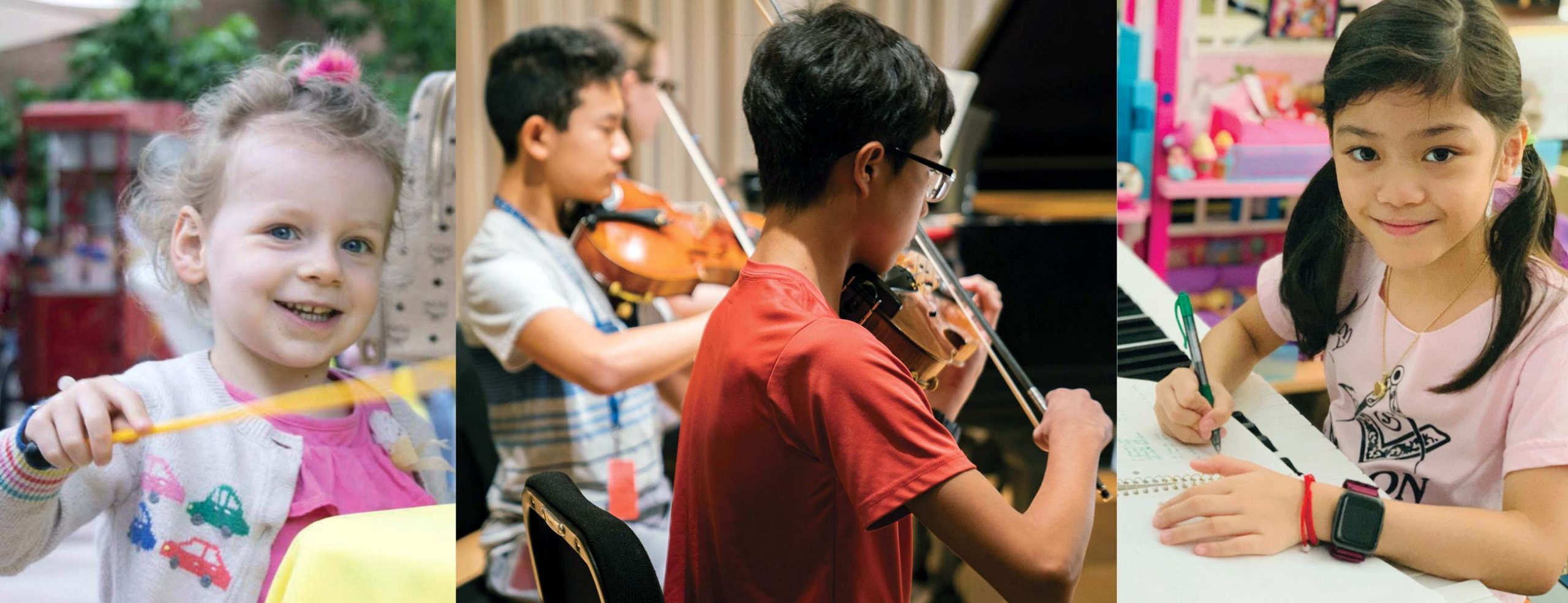 Photo on left of young pale skinned girl with curly blonde hair holding a mallet, photo in middle of two boys playing violins, photo on right of young girl with black hair in pigtails holding a pencil and smiling