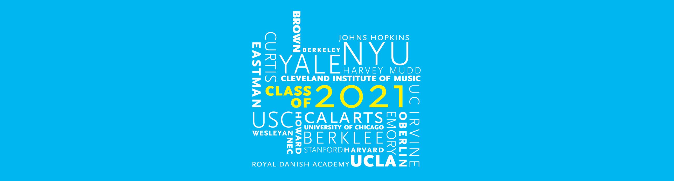 Word cloud of school names around Class of 2021