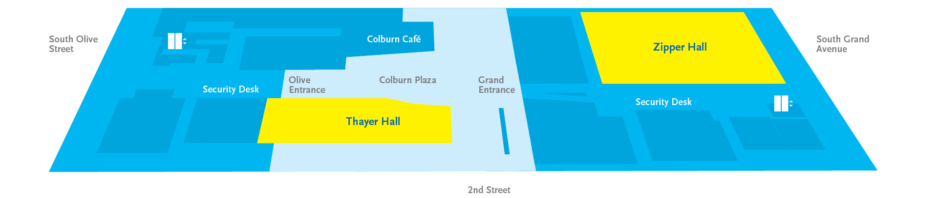 Map of Colburn plaza level from Olive St to Grand Ave