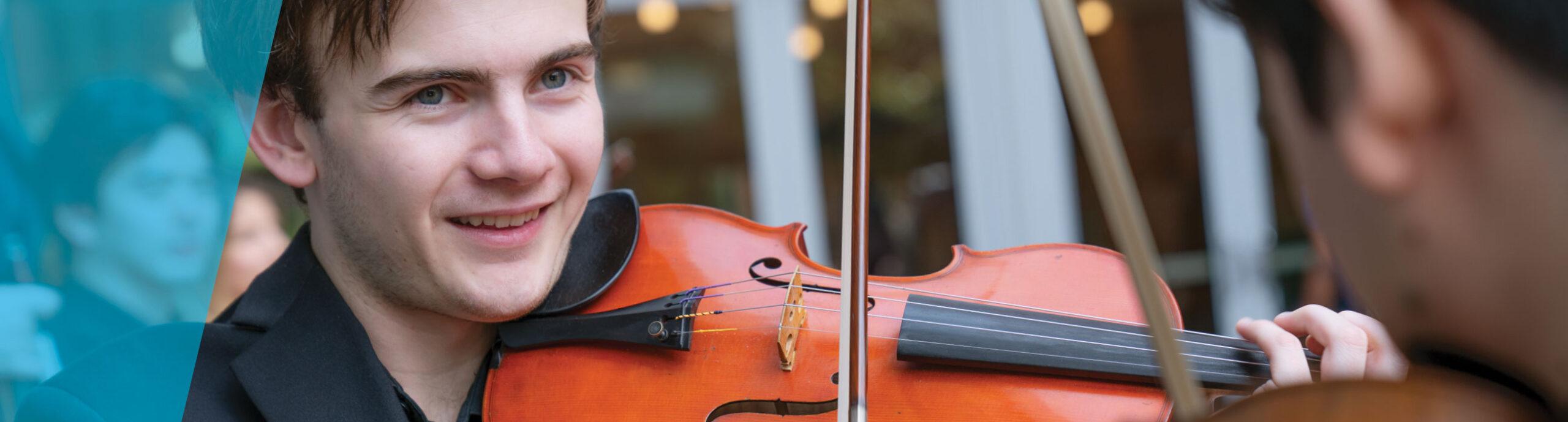 Violinist smiling